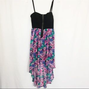 Material Girl black and floral corset top dress M